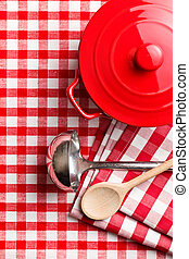 kitchenware on checkerd tablecloth