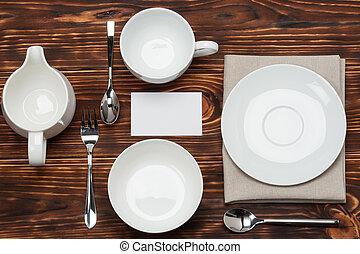 Kitchenware On Folded Natural Linen Napkin. Blank Card Mock...