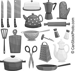 Kitchenware or dishware utensils vector icons set -...
