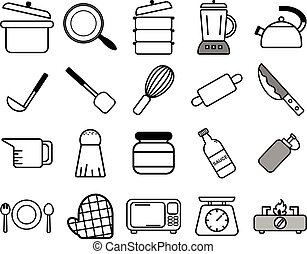 Kitchenware outline icons set for tools and appliances equipment isolated vector illustrations