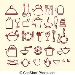 kitchenware set  outlined