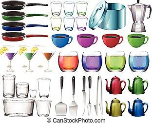 Kitchenware set with glasses