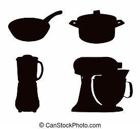 Kitchenware Silhouette - Pot, pan; liquidizer; and cake ...