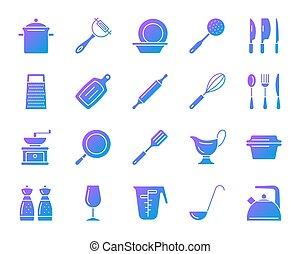 Kitchenware simple gradient icons vector set