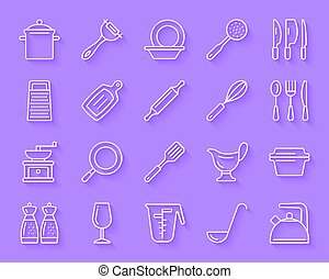 Kitchenware simple paper cut icons vector set