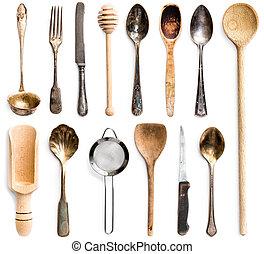 kitchenware - photo collage of wooden or metal kitchen...