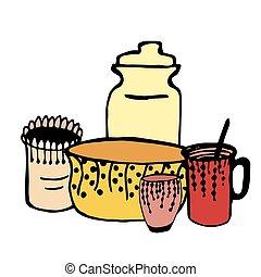 Kitchenware. Vector doodle kitchen utensils.