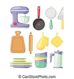 Kitchenware vector icons.
