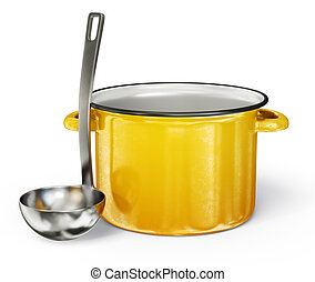 kitchenware - yellow saucepan and steel ladle isolated on a ...