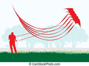 kite., acrobatie, empilé