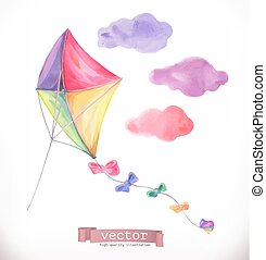 kite., aquarelle, vecteur, illustration