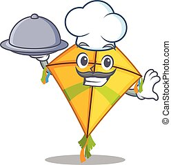 Kite as a chef cartoon character with food on tray