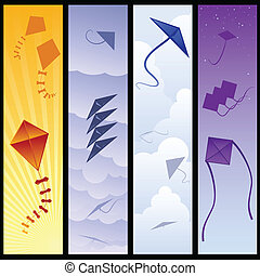 Kite banners - Four kite banners showing different times of ...
