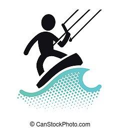 Kite boarding icon pictograms symbol