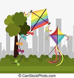 Kite childhood game design, vector illustration eps10