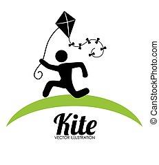Kite design over white background vector illustration - Kite...