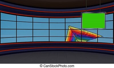 Kite flying in the windy sunny blue sky in window motion background for TV program with the Kite festival theme. Seamless loopable HD Video