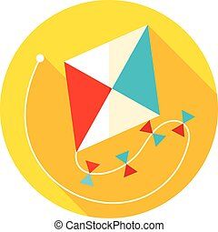 Kite flat icon with long shadow