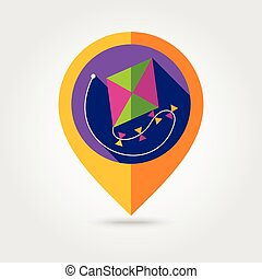 Kite flat mapping pin icon with long shadow