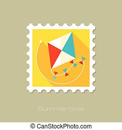Kite flat stamp with long shadow