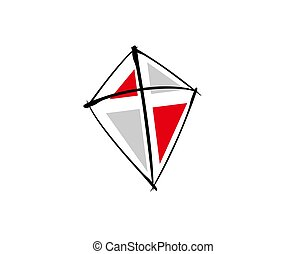 kite flat style on white background in vector illustration