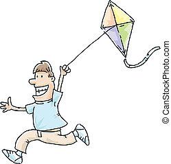Kite Flight - A cartoon man running with a flying kite.