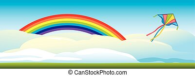 Kite flying against a background of clouds and a rainbow