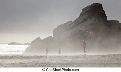Kite flying in the fog