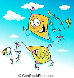 kite flying on blue sky - vector il