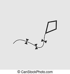 Kite icon flat.