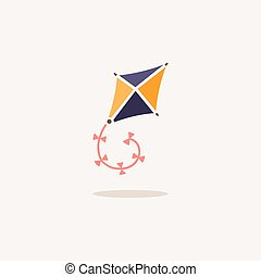 Kite. Icon with shadow on a beige background. Toy vector illustration