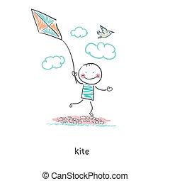 kite., illustration., homme