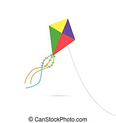 Illustration of a colorful kite isolated on a white background.
