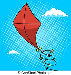 Kite in sky pop art style vector illustration