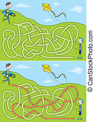 Kite maze for kids with a solution