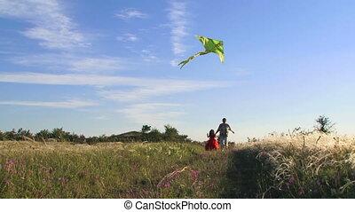 kite., mouvement, lent, jouer