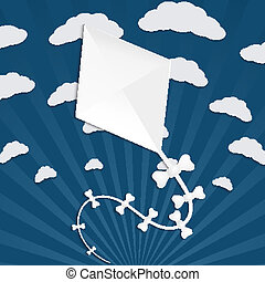 Kite on a blue background with clouds and rays