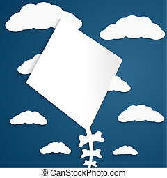 Kite on a blue background with clouds