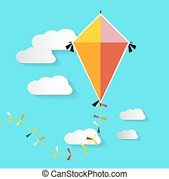 Kite on Blue Sky with Clouds. Vector.