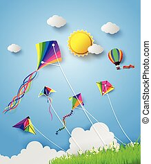 kite on sky - Colorful kite flying on the sky.
