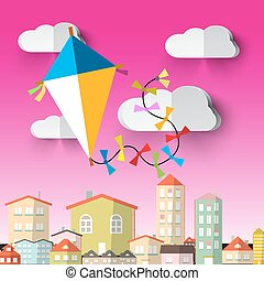 Kite on Sky Vector Cartoon