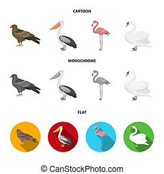 Kite, pelican, flamingo, swan. Birds set collection icons in cartoon, flat, monochrome style bitmap symbol stock illustration web.