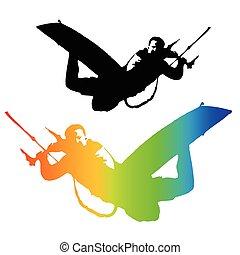 Kite Rider isolated on white background. Illustration....