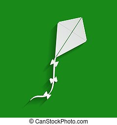 Kite sign. Vector. Paper whitish icon with soft shadow on green background.