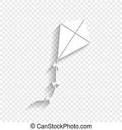 Kite sign. Vector. White icon with soft shadow on transparent background.