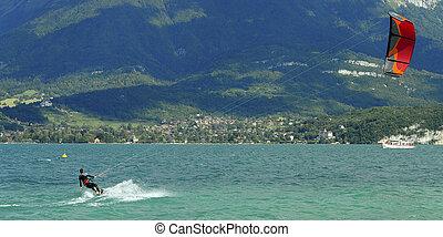 Kite surf on annecy lake, France