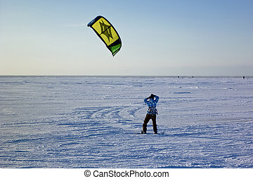Kite surfer in the snow