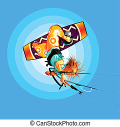 Kite surfer - Young kitesurfer jumping on board onto the sky