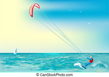 Kite-surfing - Man involved in sports on a surfboard with...