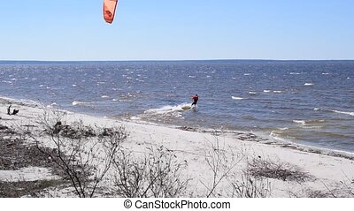 Kite surfing in spring